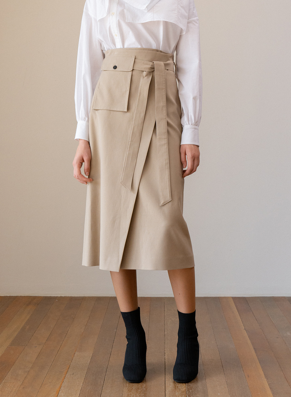 SS19 Highwaist Wrap Skirt Beige