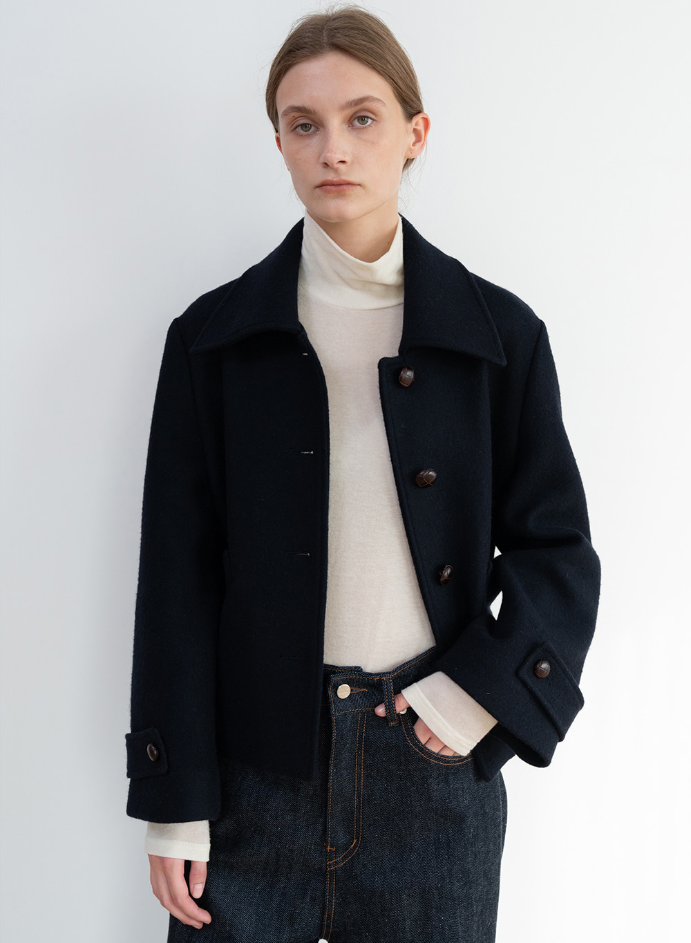 [ESSENTIAL] Twill Cropped Jacket Dark-navy