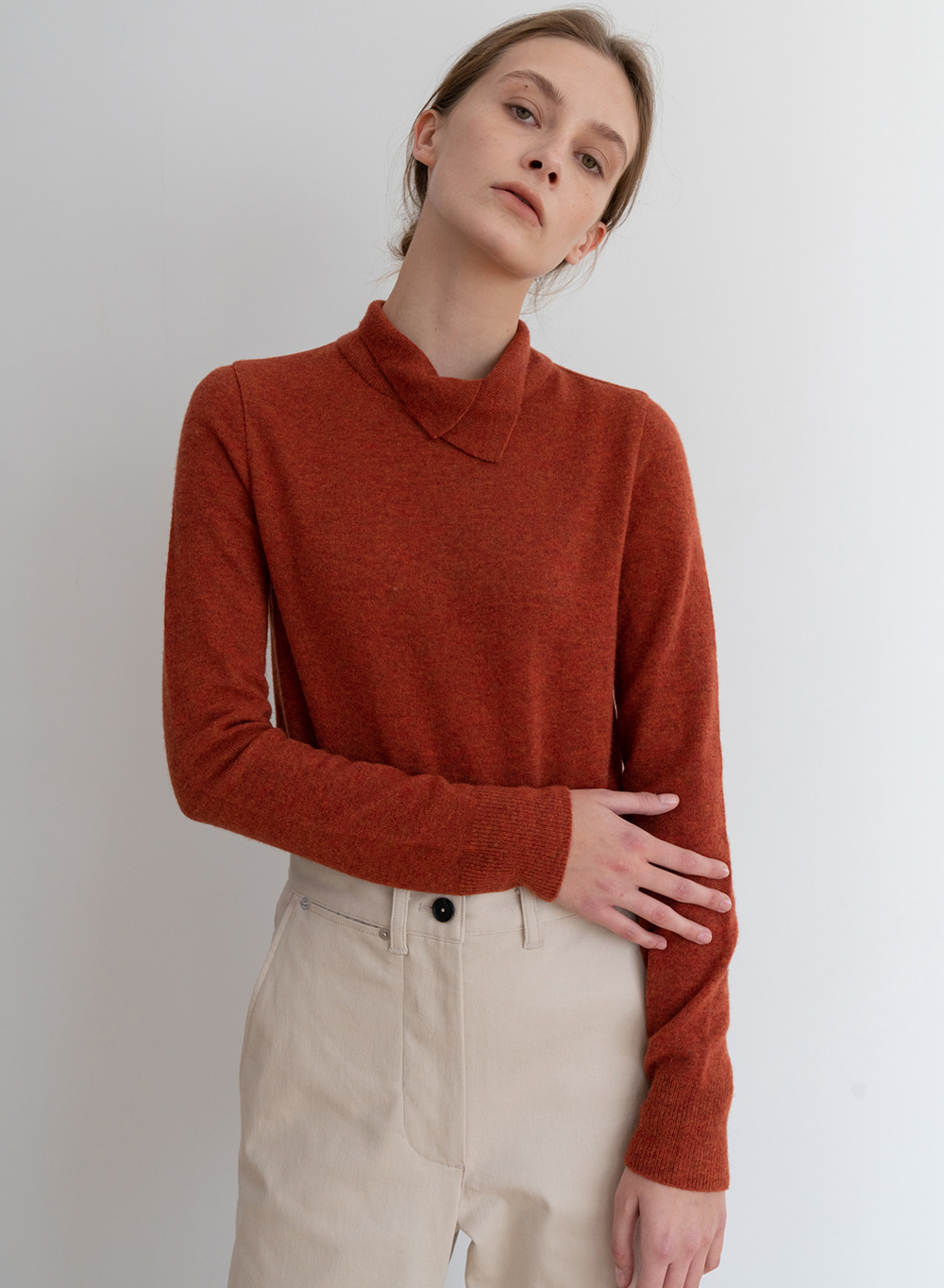 [ESSENTIAL] 캐시미어 Relaxed Sweater Orange
