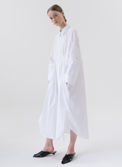 SS20 Cocoon Shirt Dress White