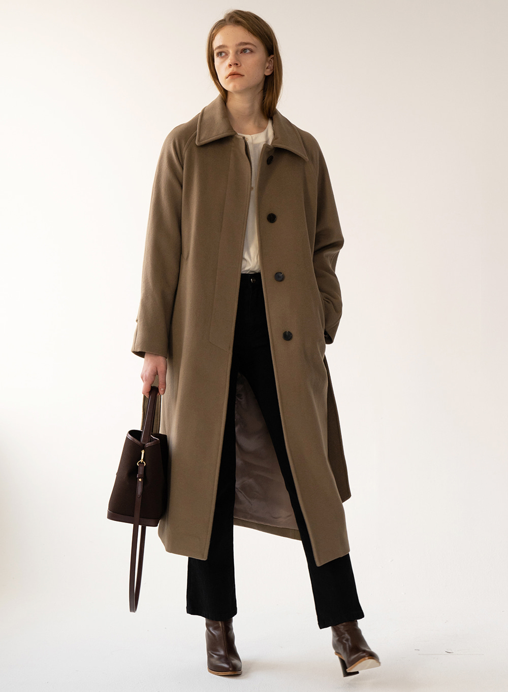 [예약배송][FW20 ESSENTIAL] 캐시미어 Cashmere Single Coat Wood-brown