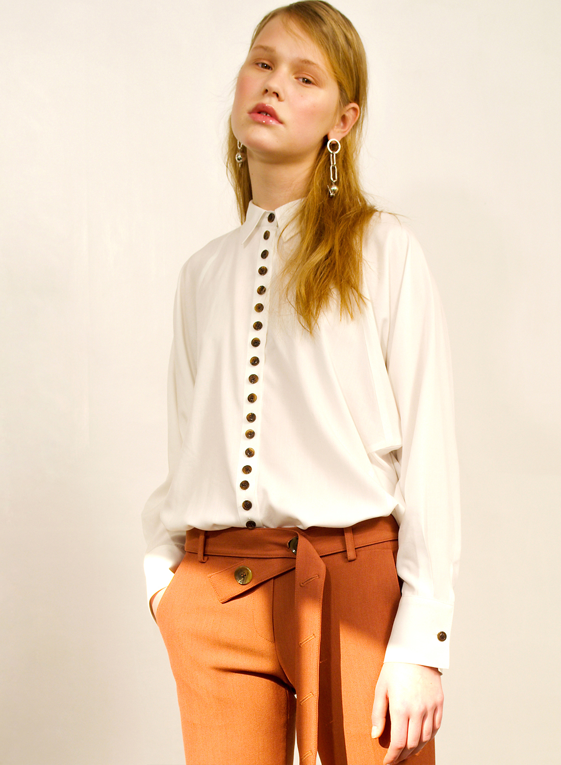 SS17 BUTTON BLOUSE WHITE