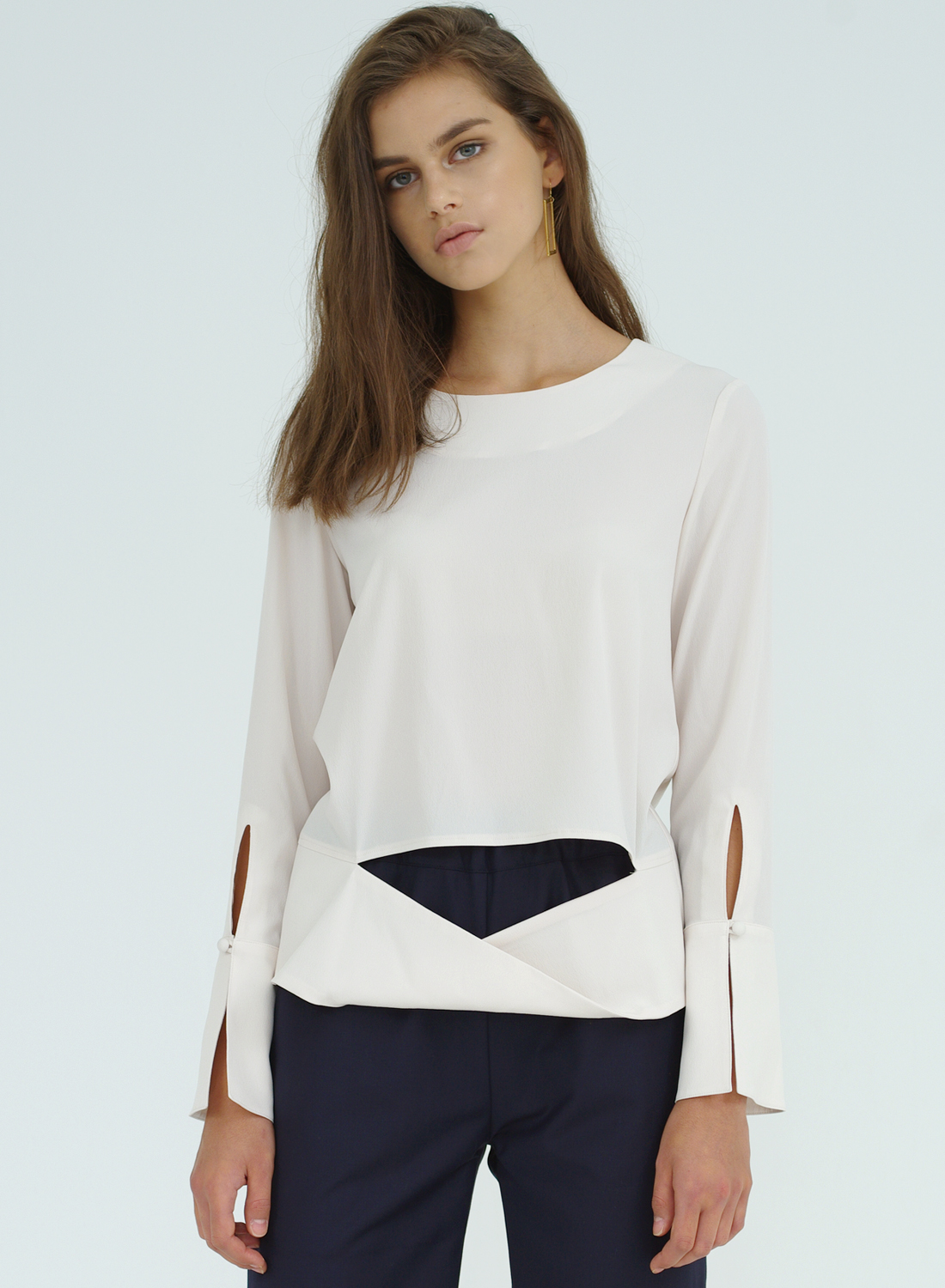 FW16 DRAPING BLOUSE IVORY