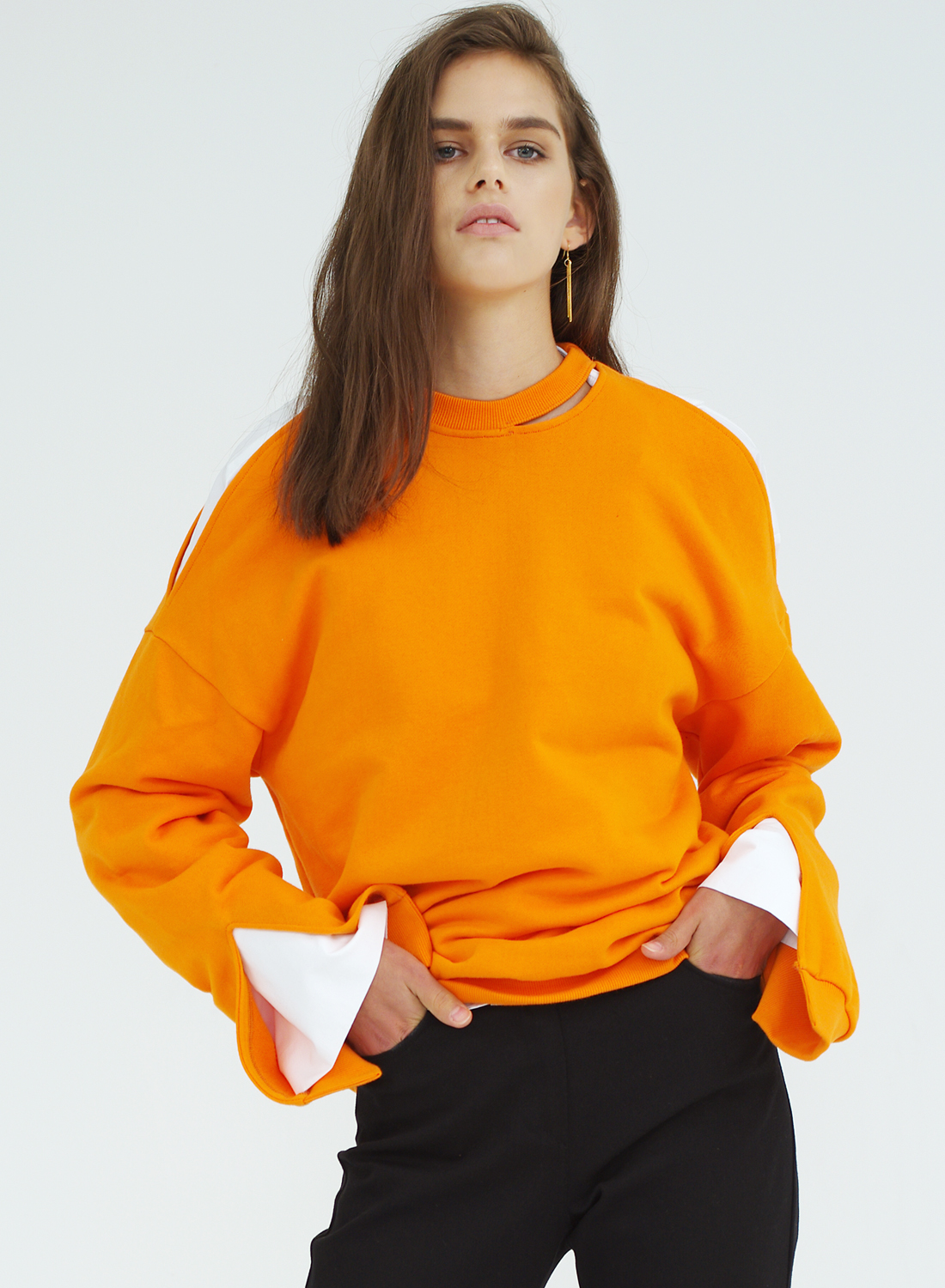 FW16 SLIT SWEATSHIRT ORANGE