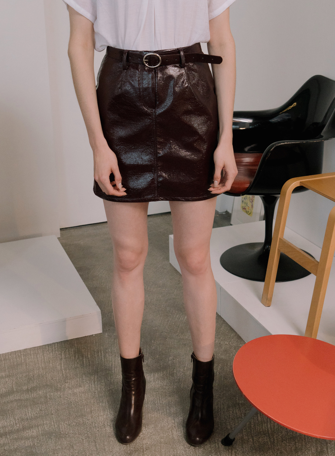 SS18 BELTED LEATHER SKIRT WINE
