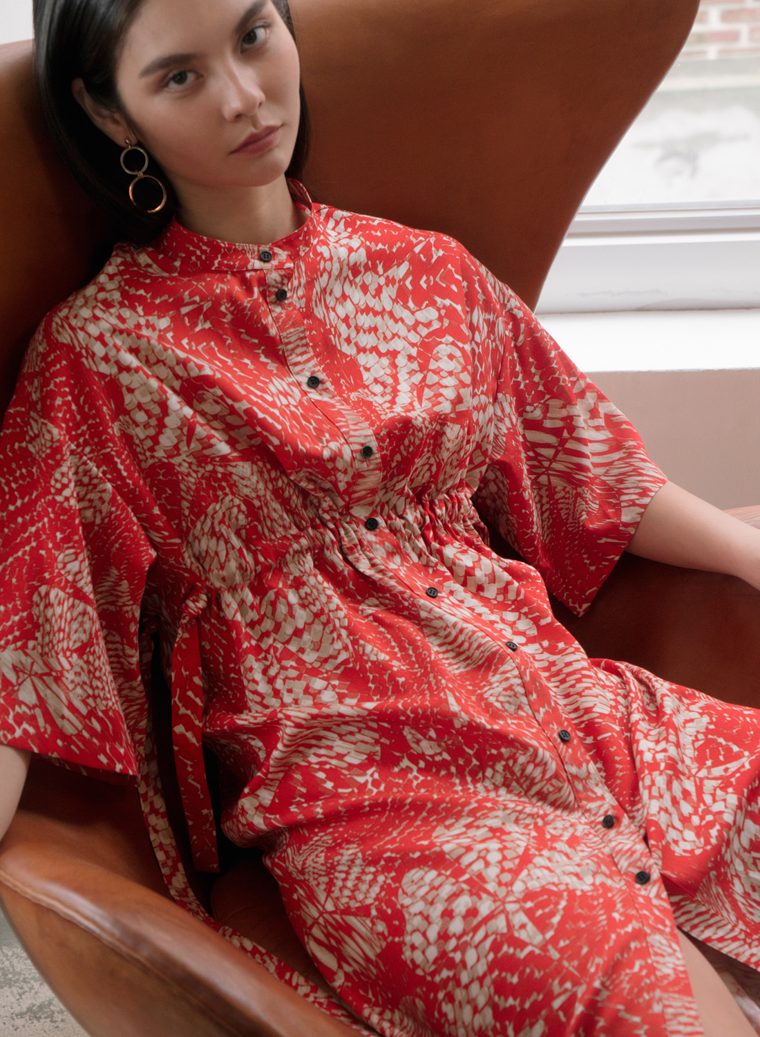 SS18 PRINTEDED DRESS RED