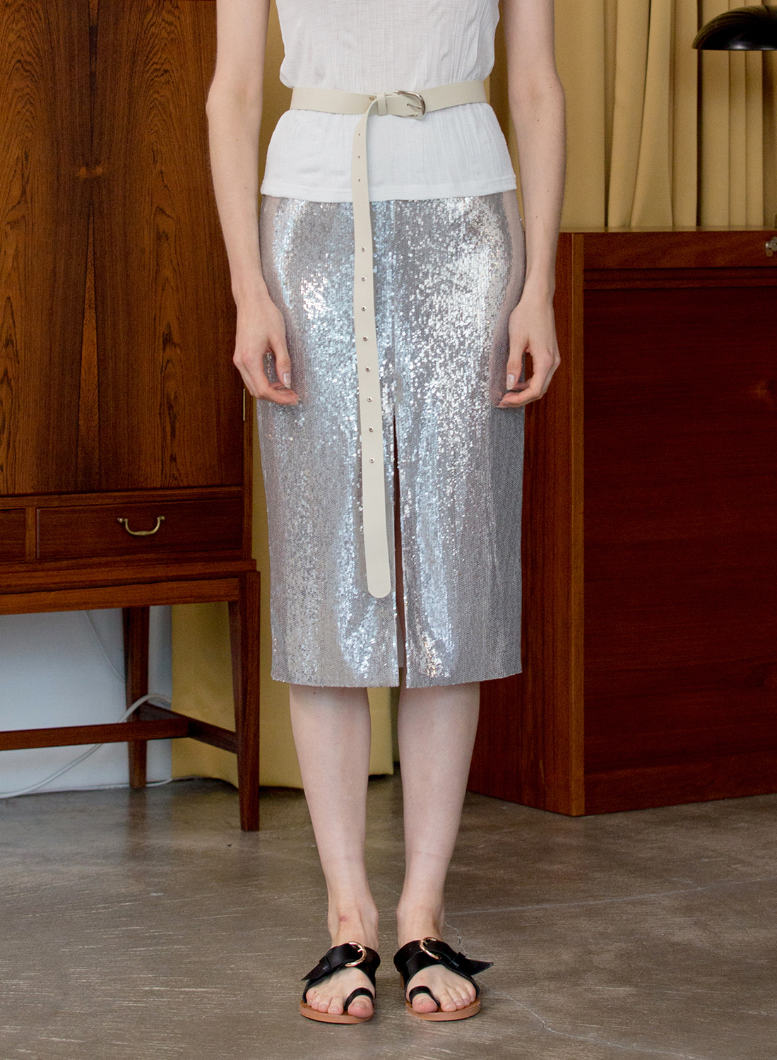 SS18 SPANGLE SKIRT SILVER