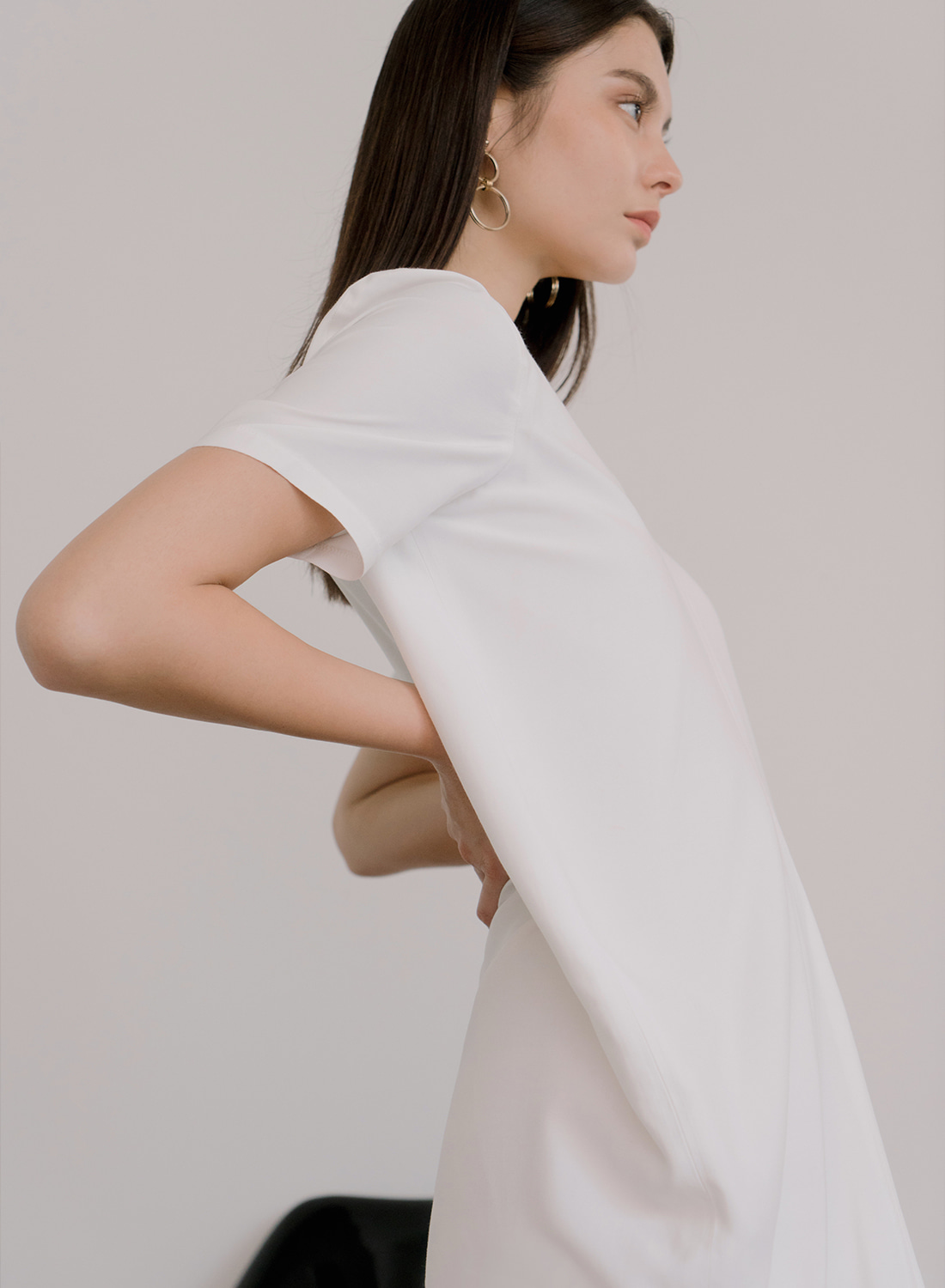 SS18 DRAPE DRESS WHITE