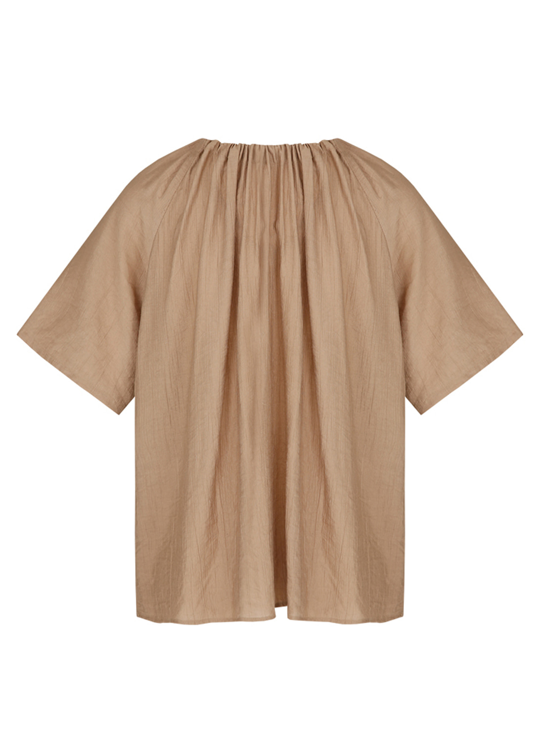 SS18 GATHER TOP BROWN