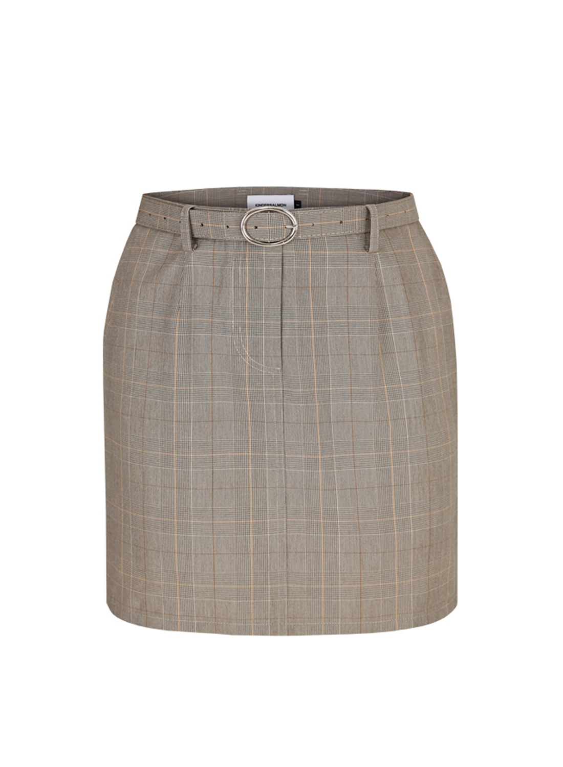 SS18 BELTED CHECK SKIRT GRAY