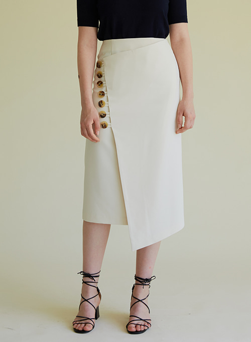 BUTTON RAP SKIRT IVORY