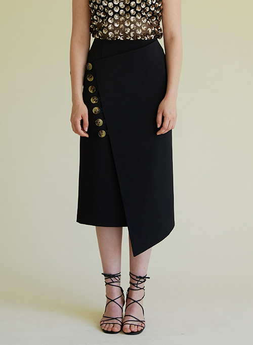 BUTTON RAP SKIRT BLACK