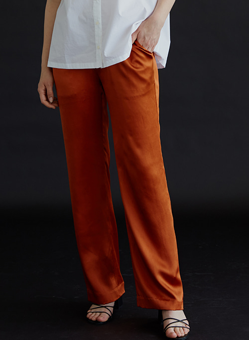 SILK BANDING PANTS ORANGE