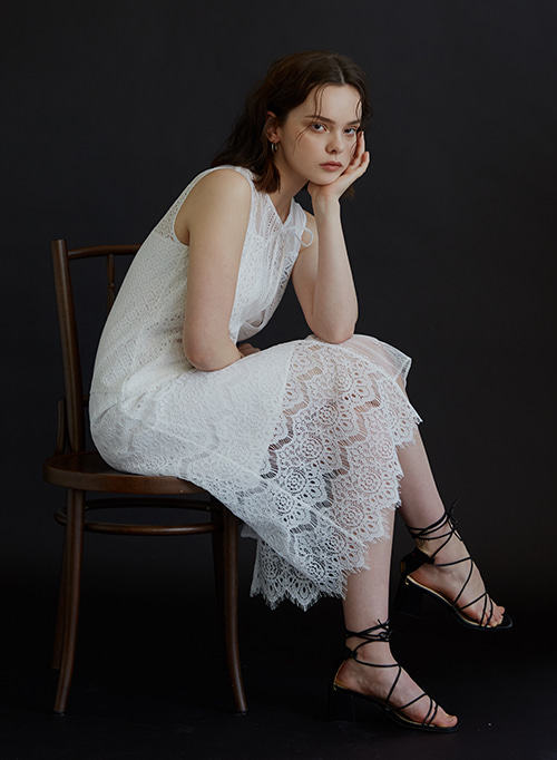 PATCHWORK LACE DRESS WHITE