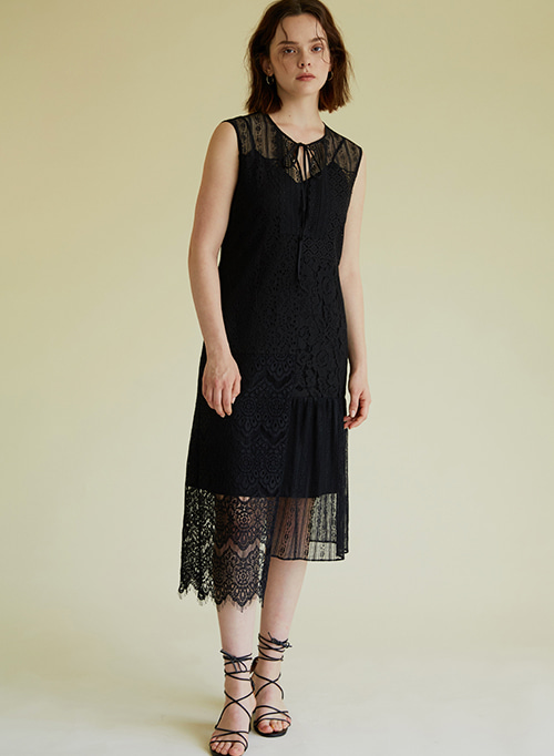 PATCHWORK LACE DRESS BLACK