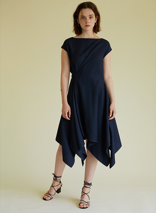 DRAPING DRESS NAVY