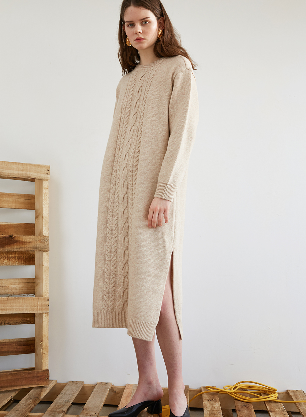 FW18 CABLE KNIT DRESS BEIGE