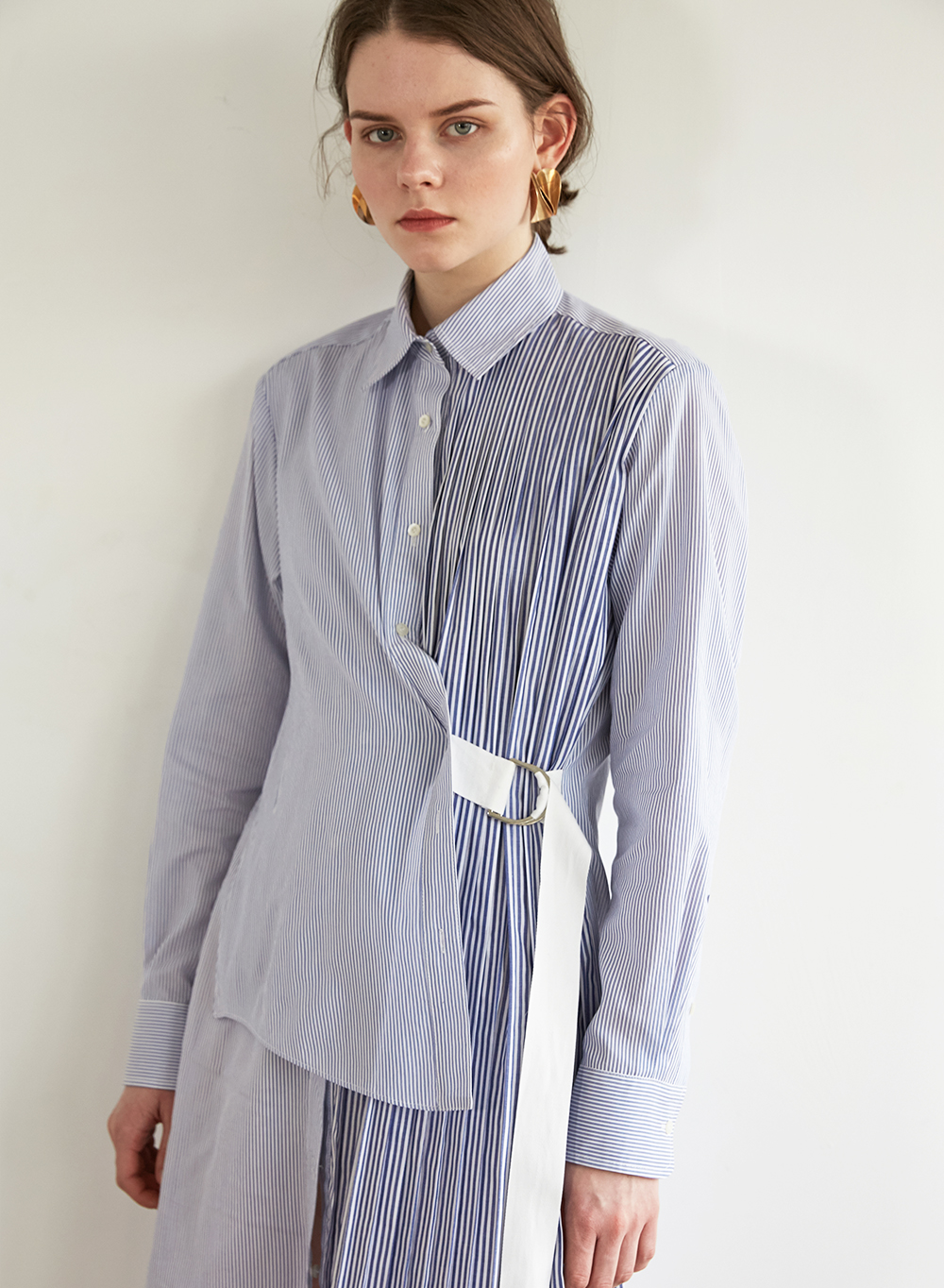 FW18 PLEATS SHIRT DRESS BLUE