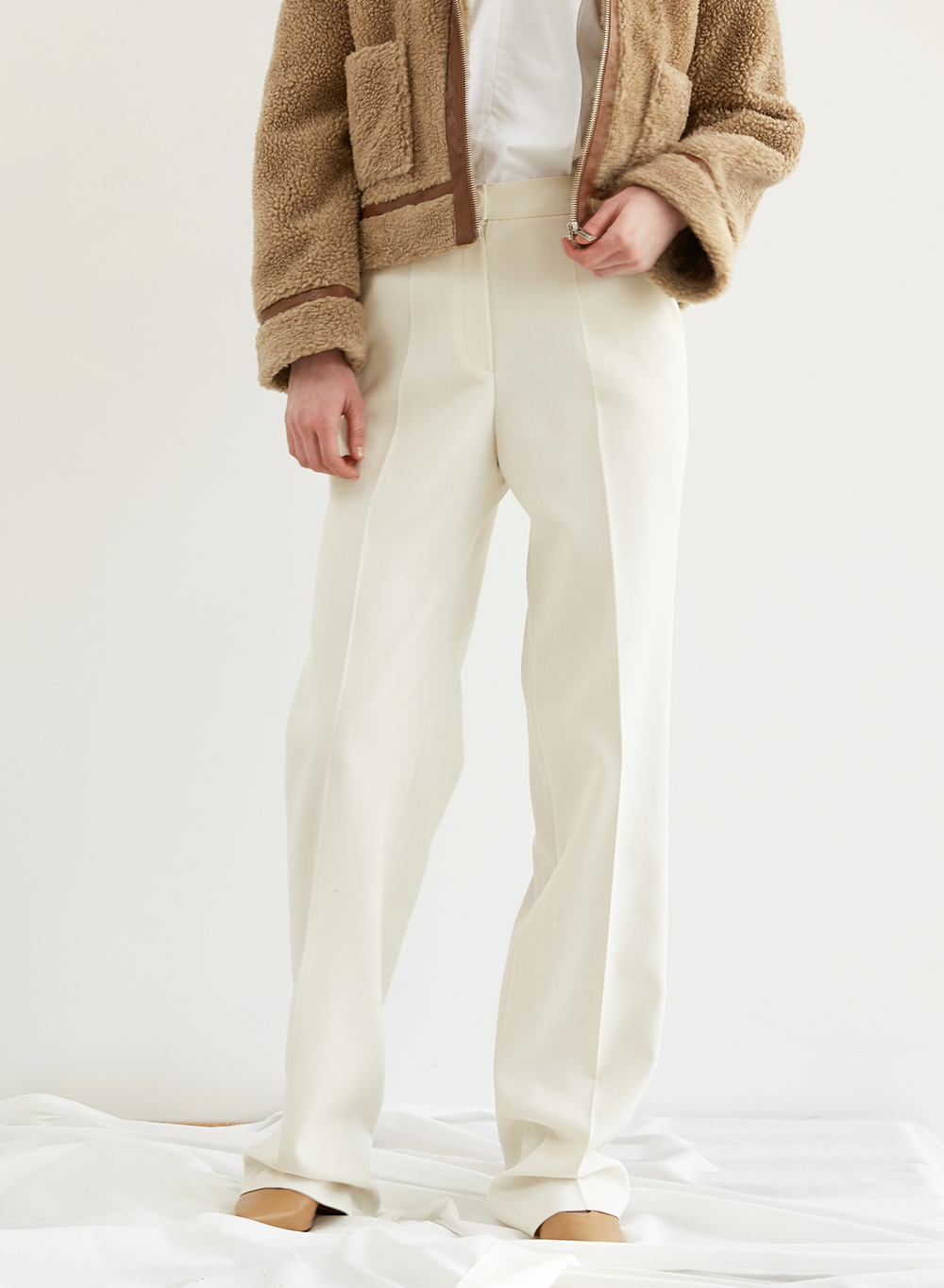 FW18 STRIGHT PANTS IVORY