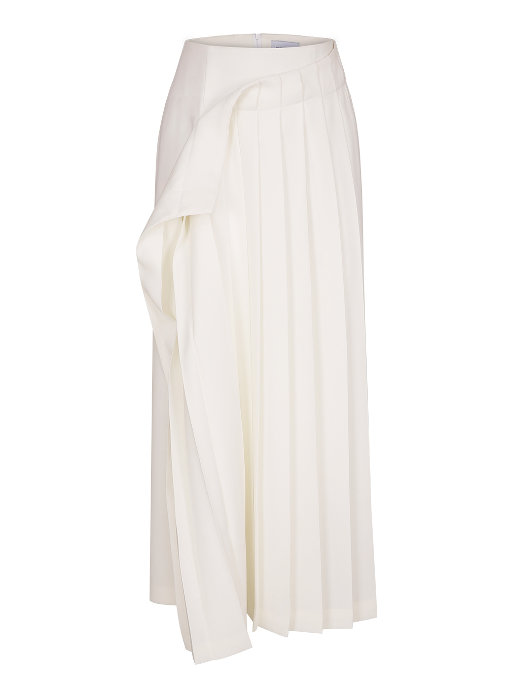 FW18 ASYMMETRY PLEATS SKIRT WHITE