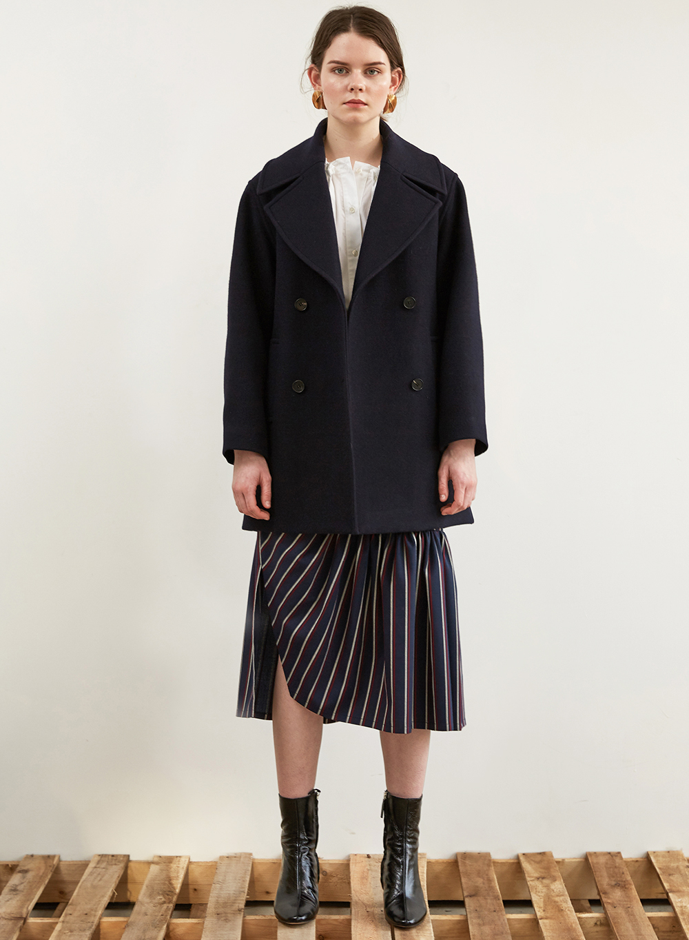 FW18 OVERSIZED HALF COAT DARKNAVY