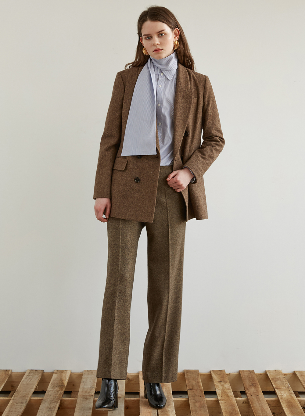 FW18 WOOL DOUBLE BLAZER BROWN