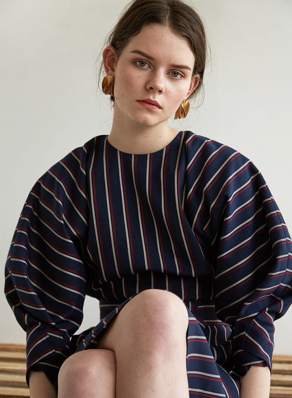 FW18 STRIPE COCOON DRESS NAVY