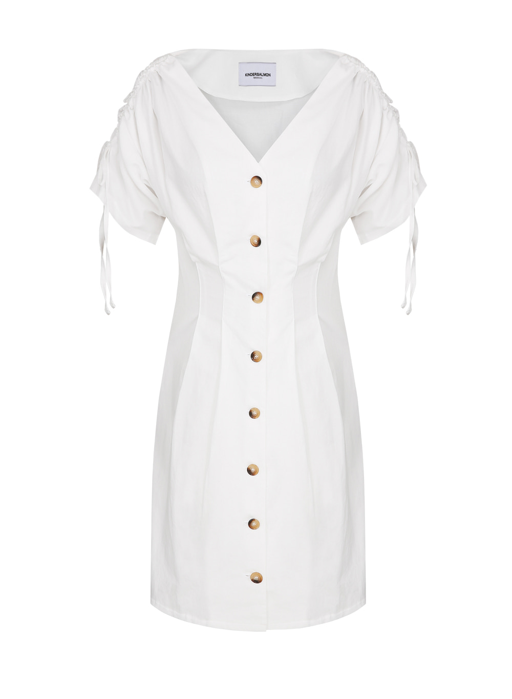 BUTTON SHARRING DRESS WHITE