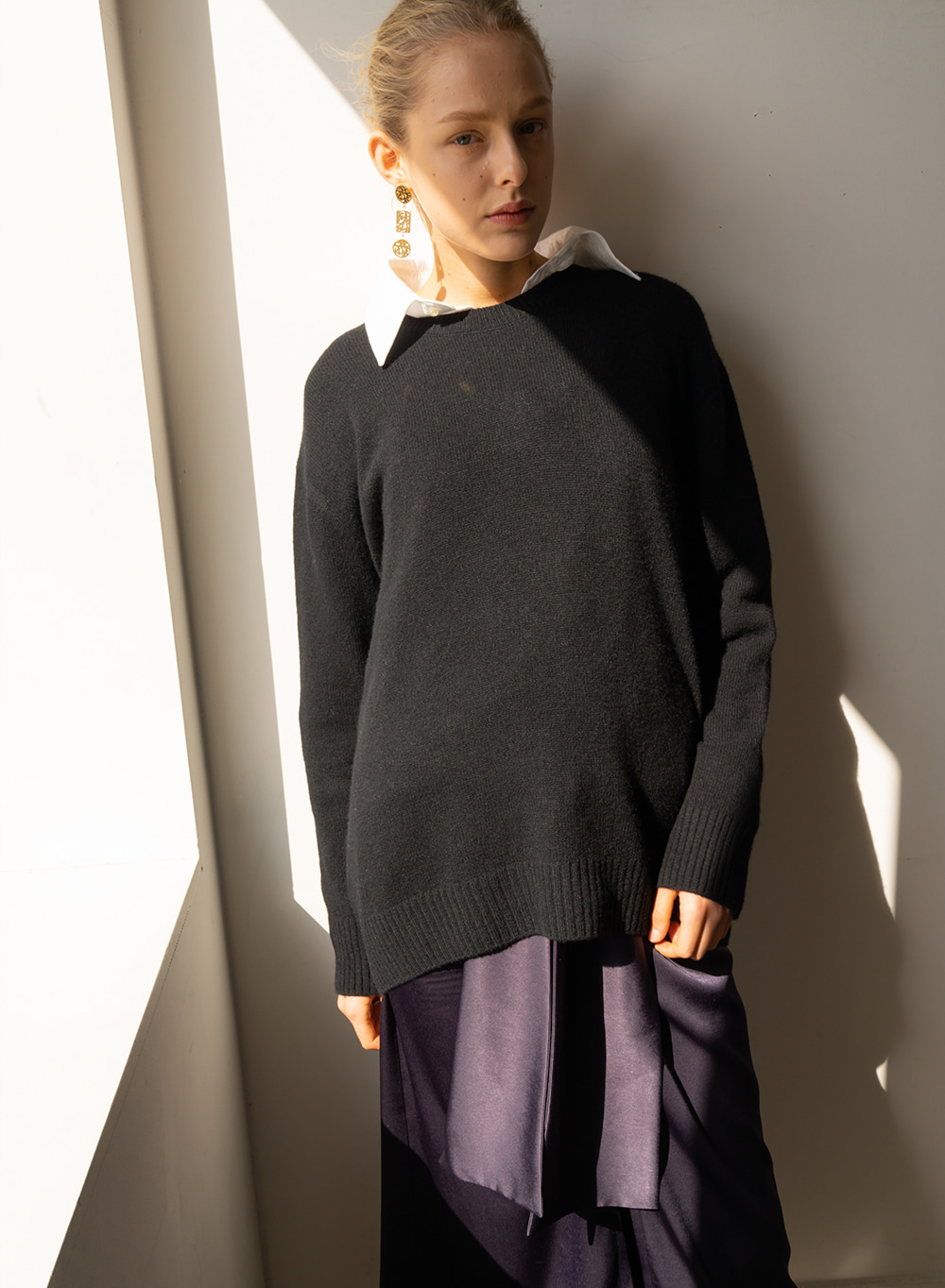 [ESSENTIAL] 캐시미어 Oversized fit Knit Black