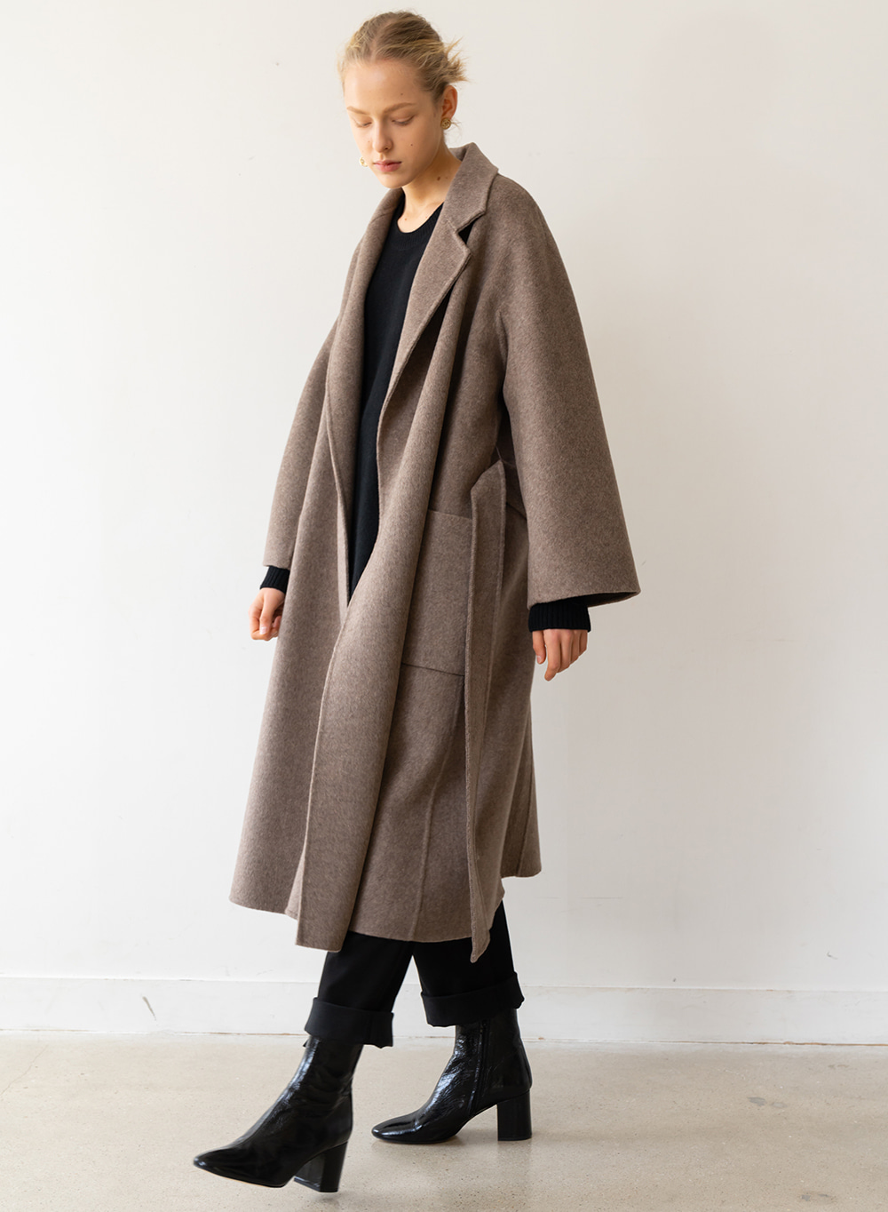 [ESSENTIAL] Handmade Herringbone Coat Brown