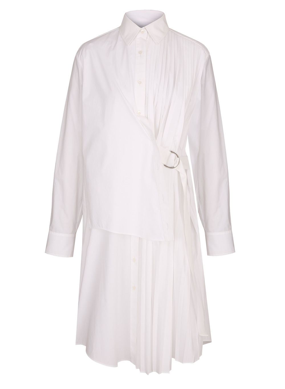 FW18 PLEATS SHIRT DRESS WHITE