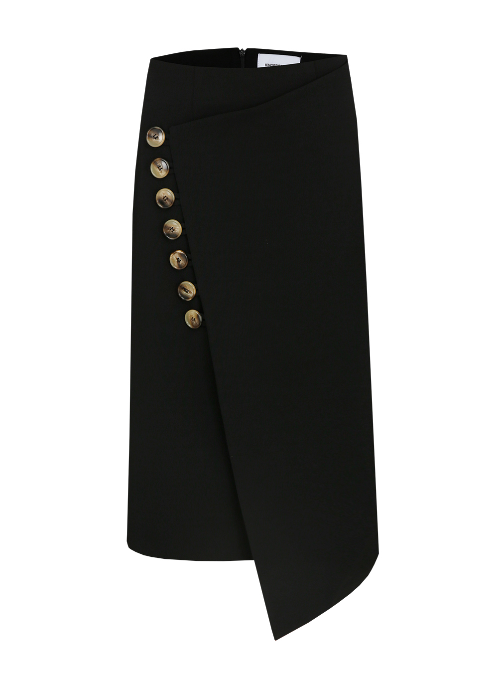 BUTTON WRAP SKIRT BLACK