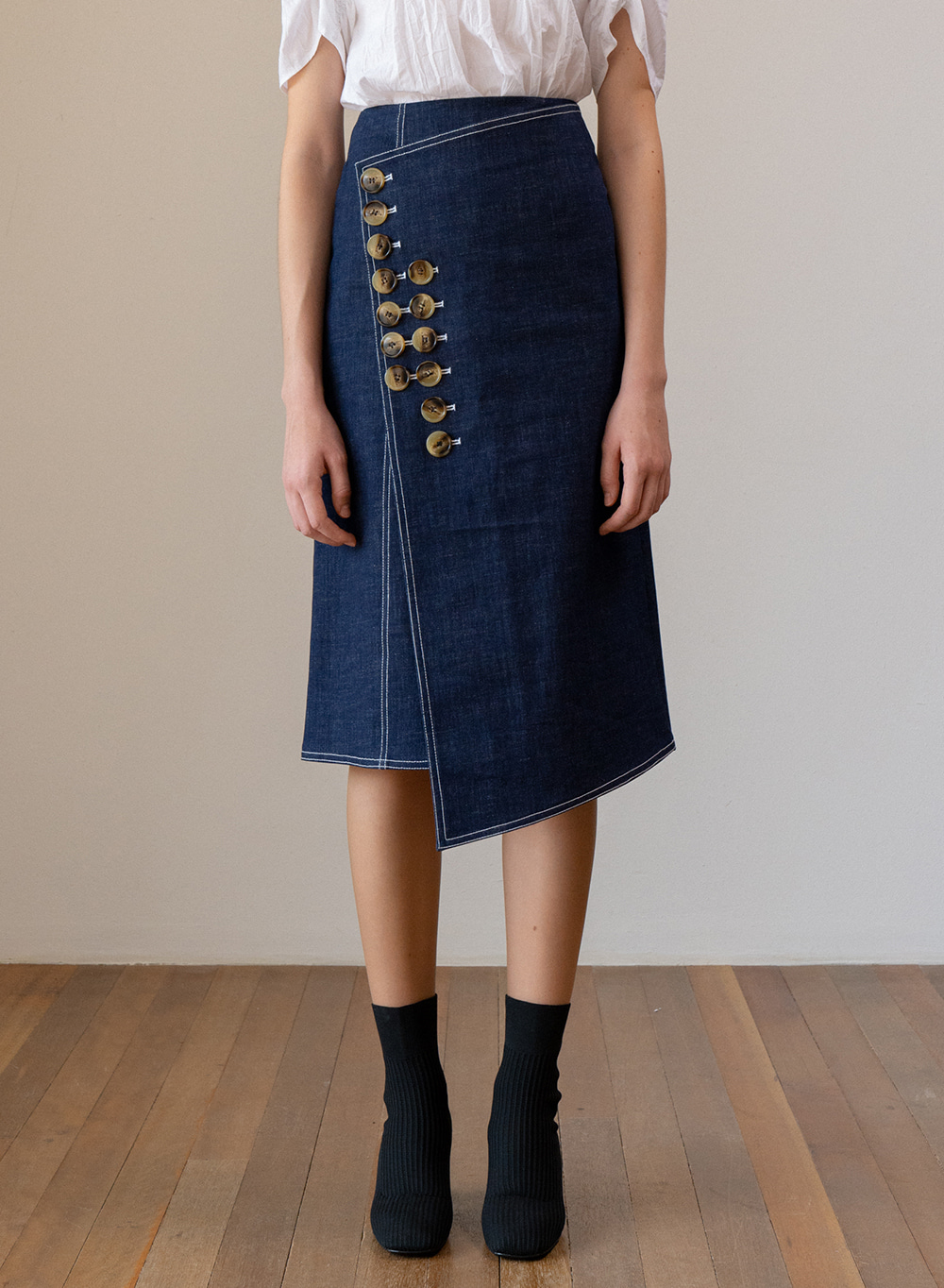 SS19 Denim Wrap Skirt Blue