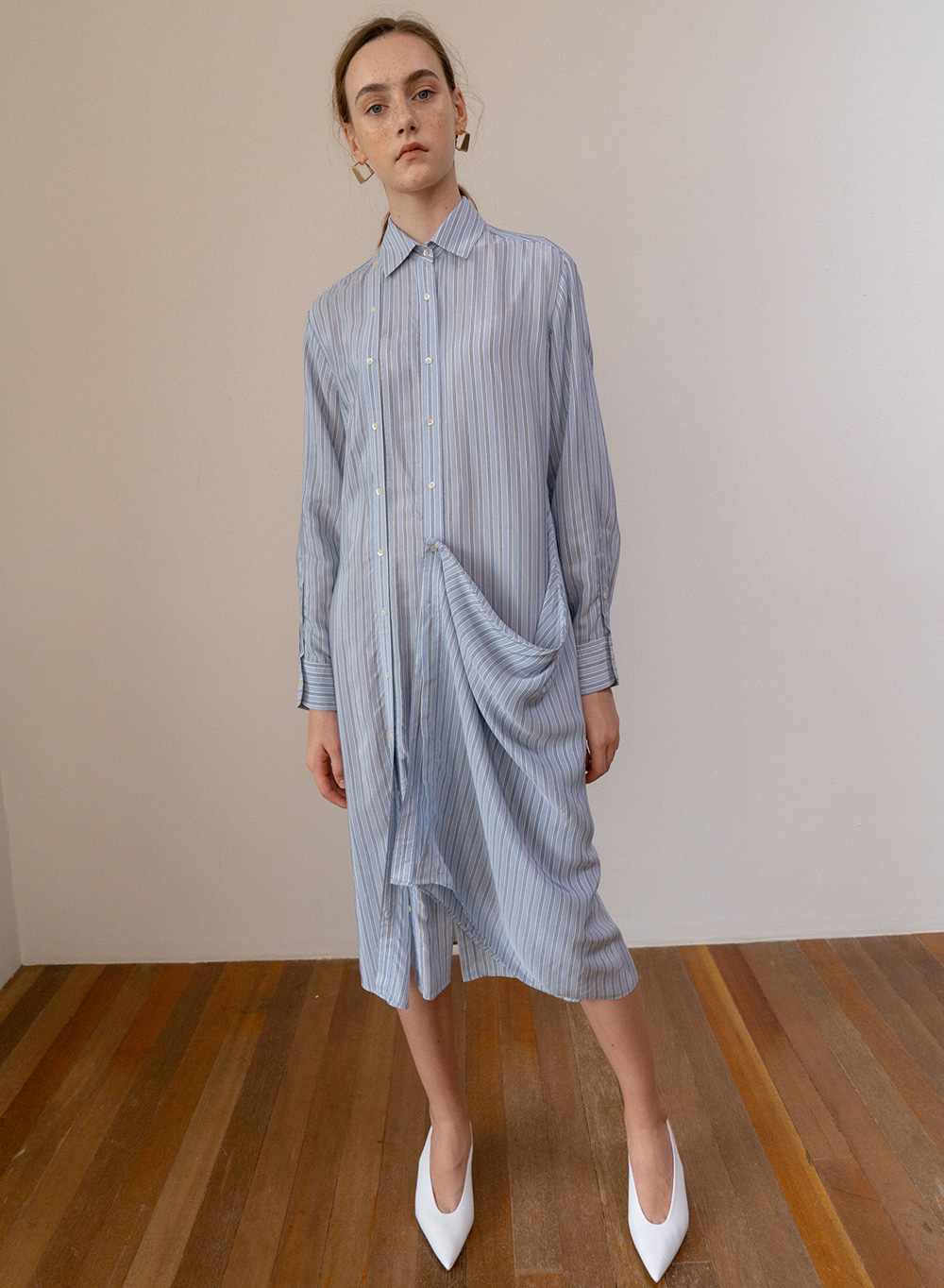 SS19 Draping Long Shirt Dress Blue