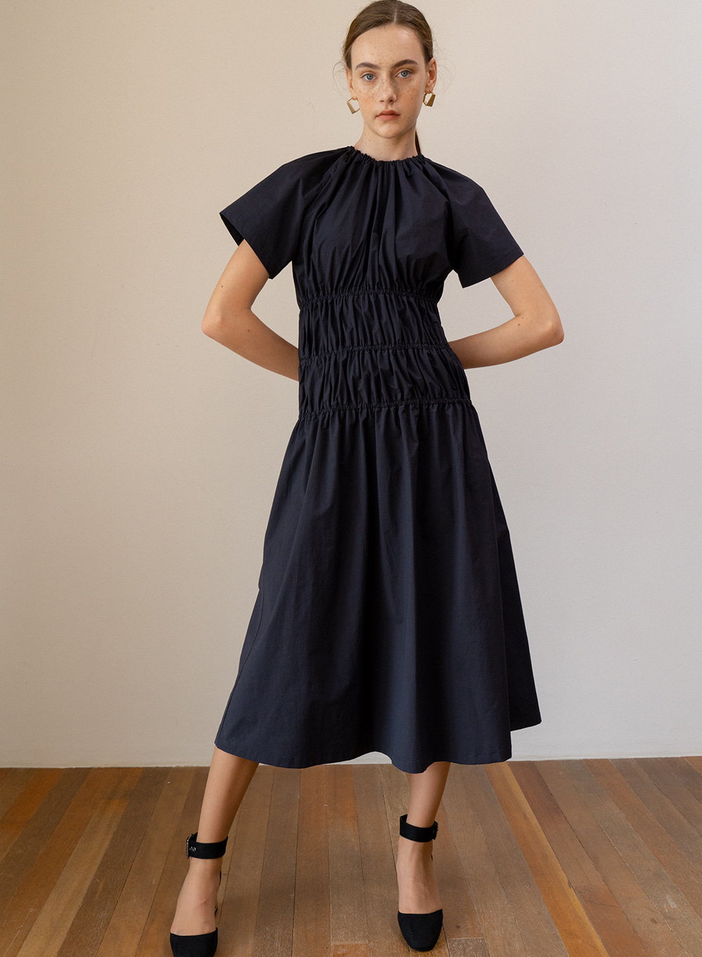 SS19 Shirring Dress Navy
