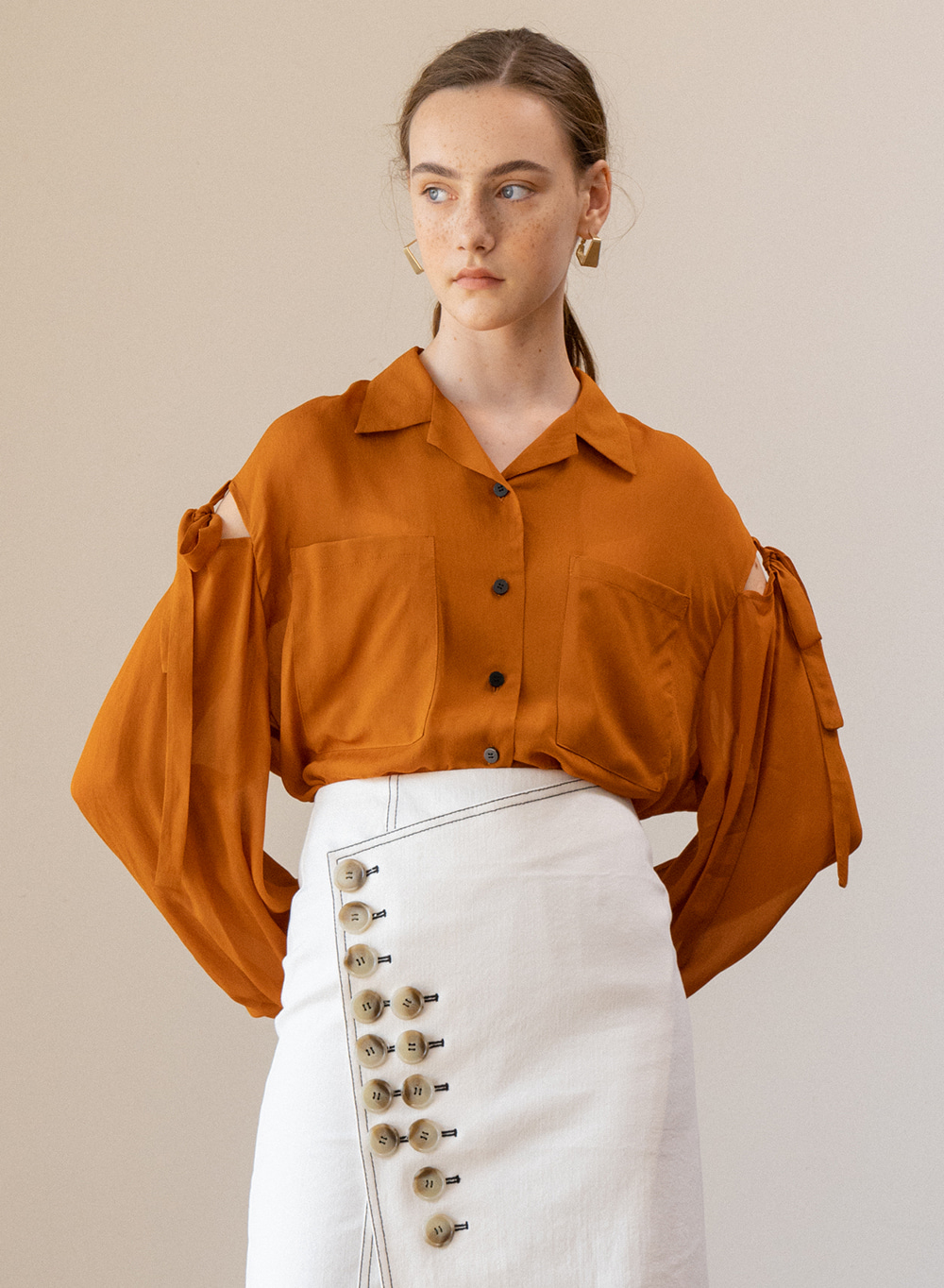 SS19 Slit Sleeve Blouse Orange