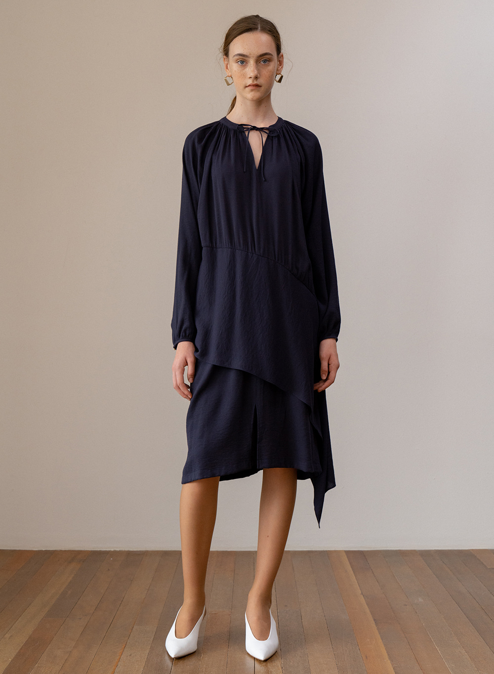 SS19 Gather Detail Tied Dress Navy