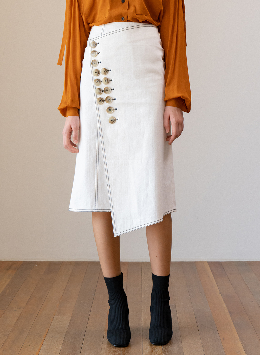 SS19 Denim Wrap Skirt Ivory