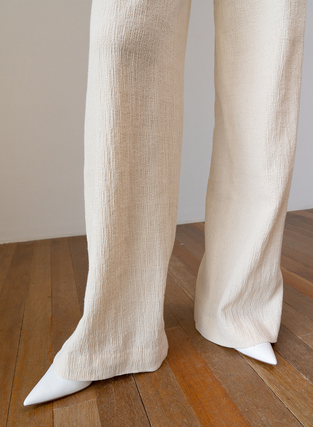 SS19 Cotton Texture Wide Pants Ivory