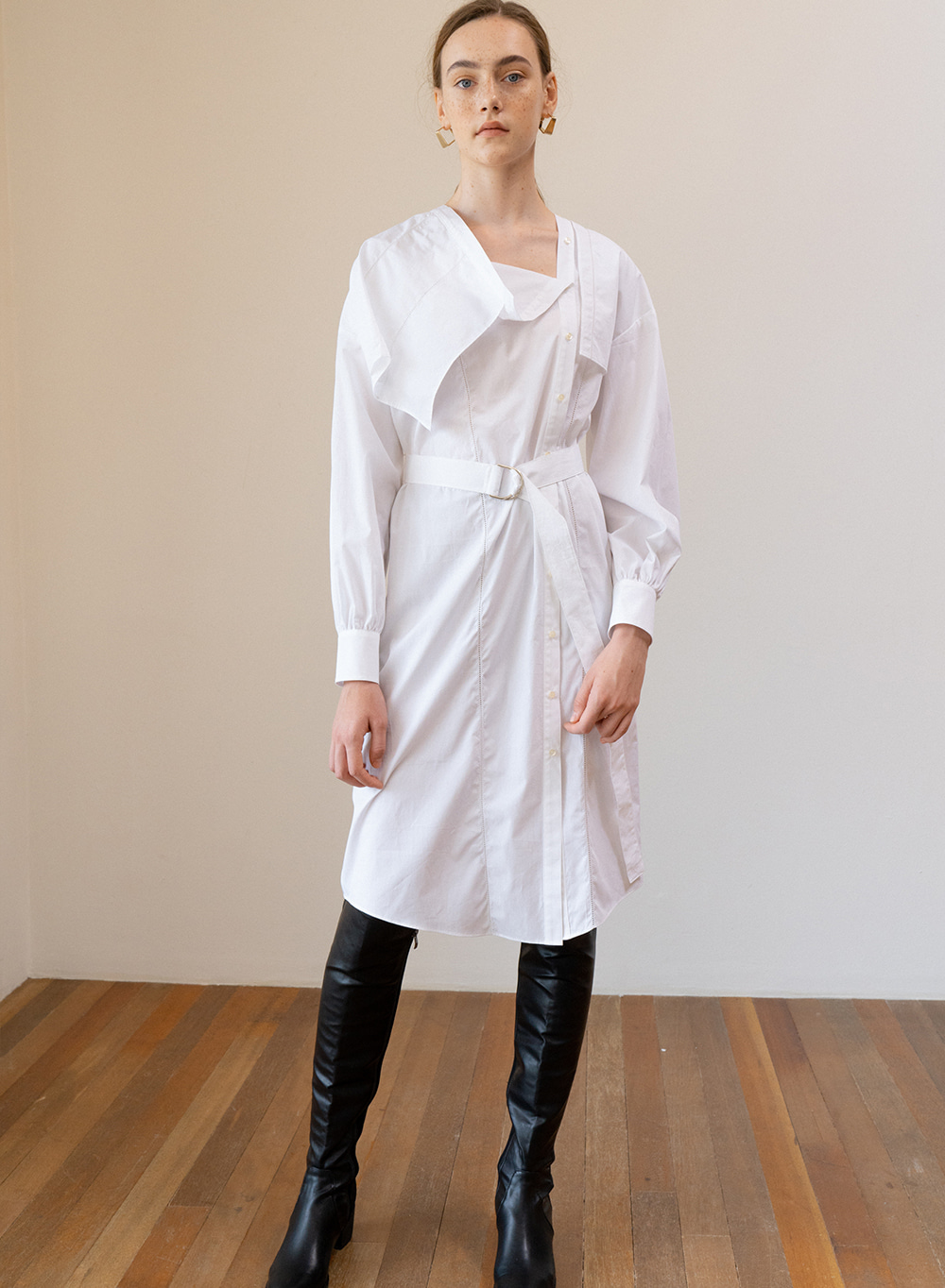 SS19 Asymmetry Long Shirt Dress White