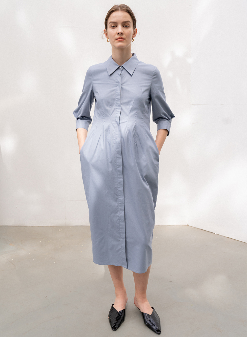 [ESSENTIAL] SILHOUETTE SHIRTS DRESS BLUE