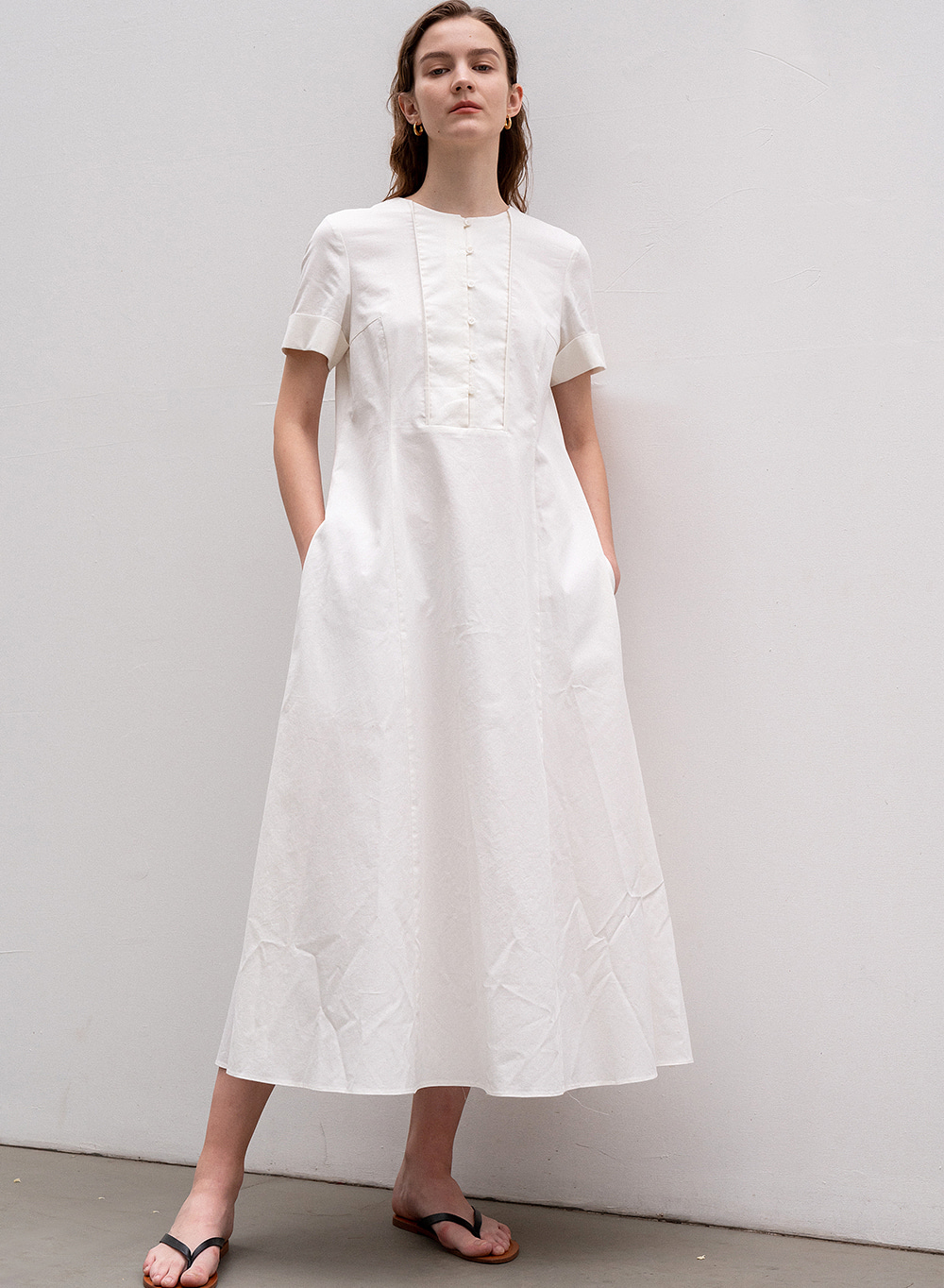 [ESSENTIAL] Square Line Dress White