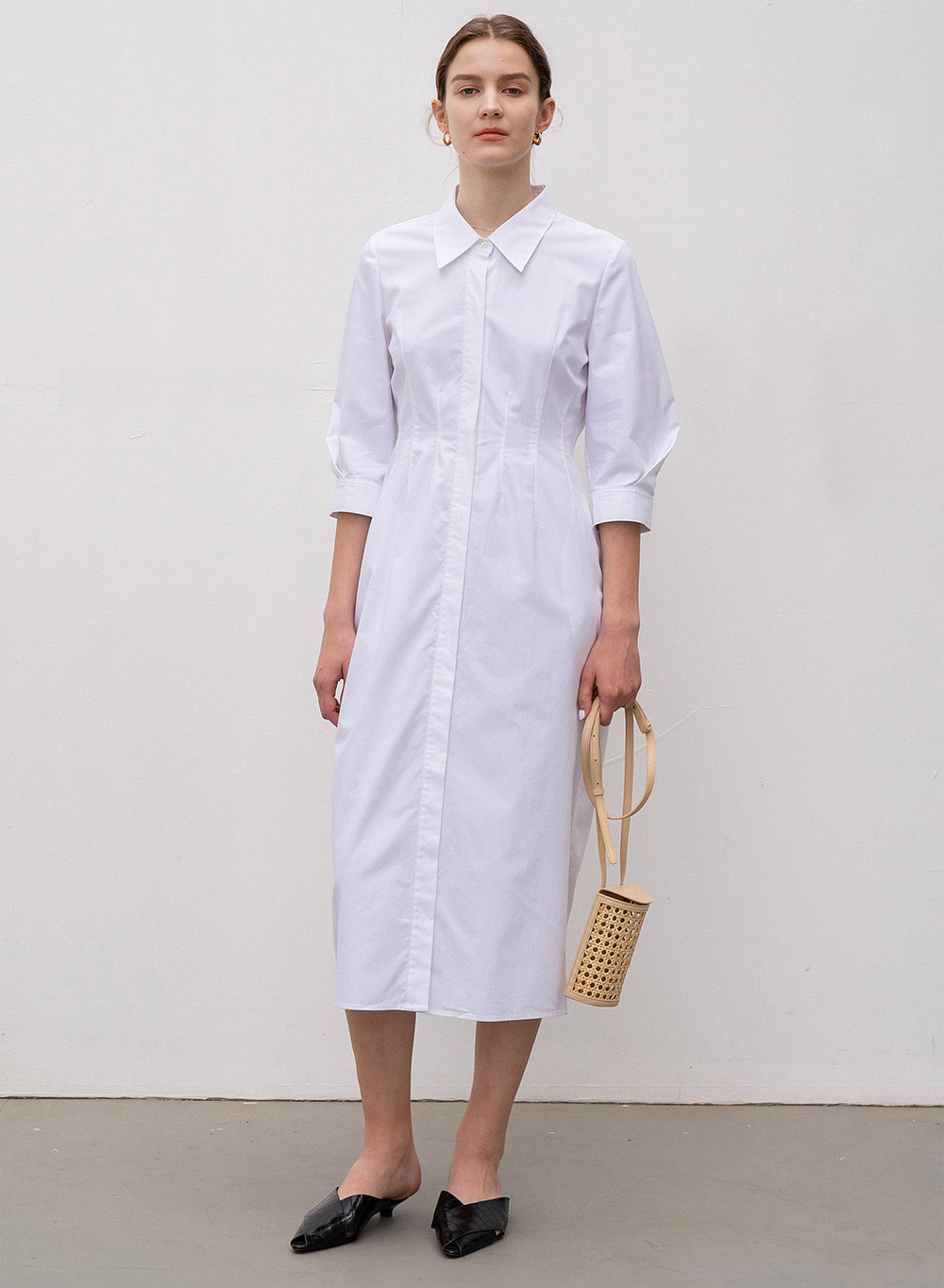 [ESSENTIAL] Silhouette Shirt Dress White