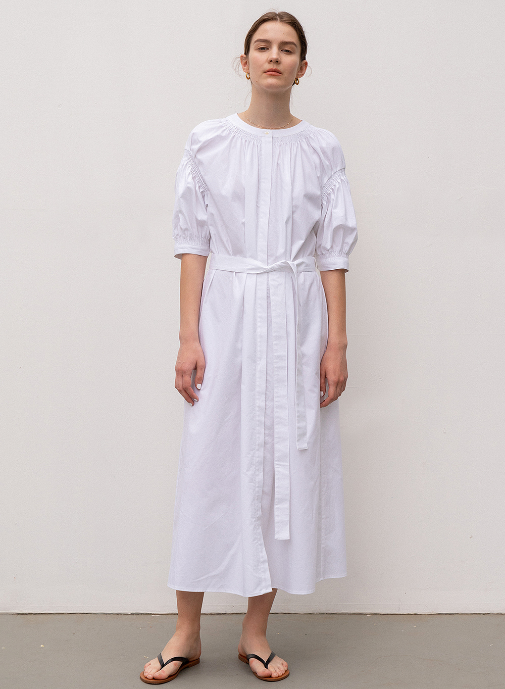 [ESSENTIAL] Balloon Sleeve Dress White