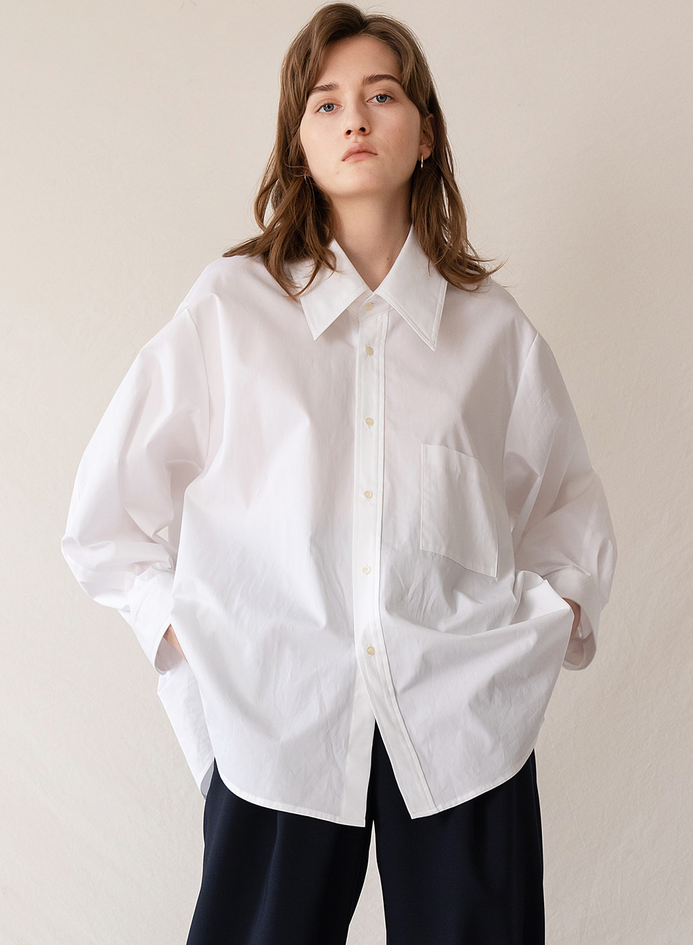 FW19 Oversized Deep Neck Shirt White