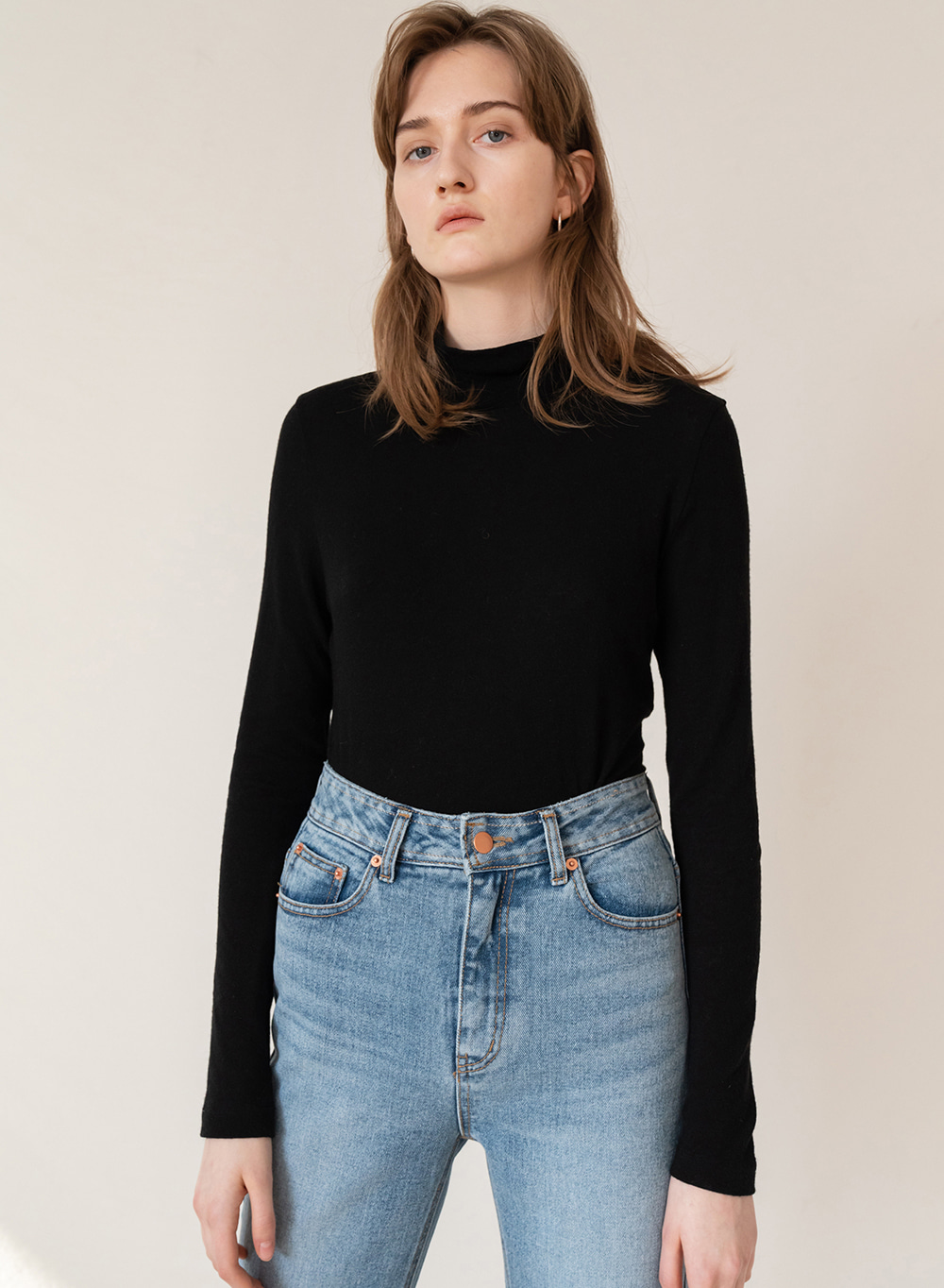FW19 Stretch Wool Blended Turtleneck Black