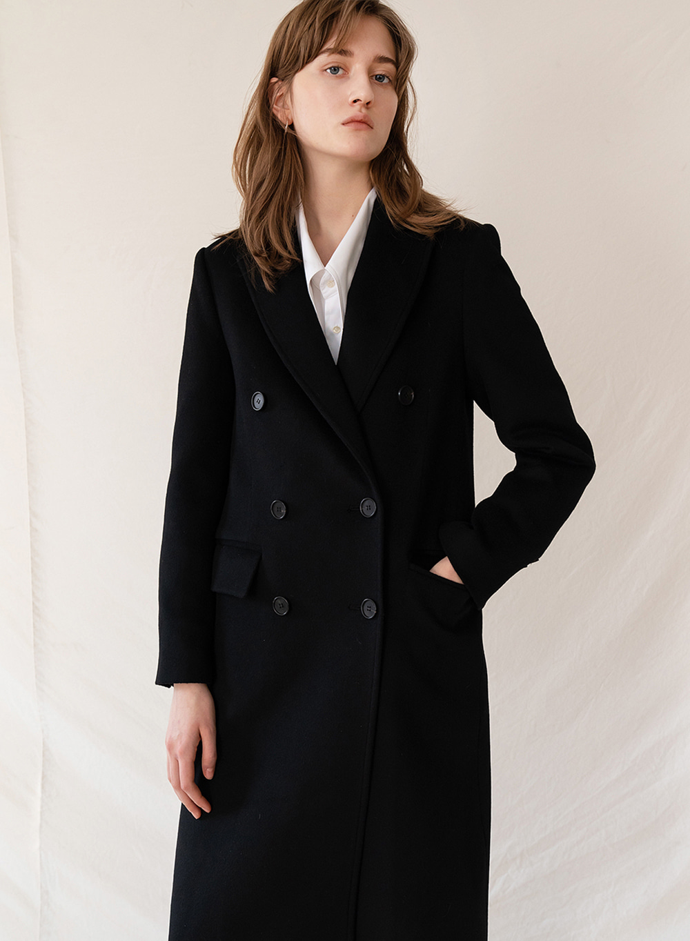 FW19 Cashemere double breasted coat black