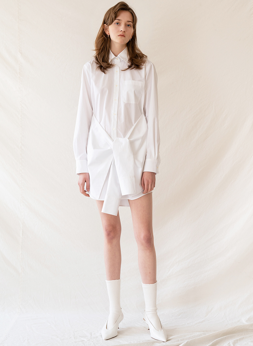 FW19 Tied shirt dress white