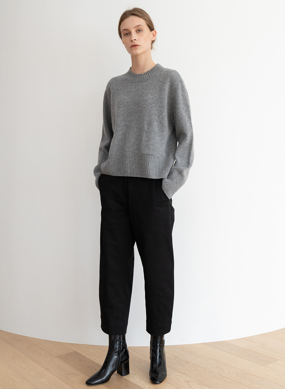 [ESSENTIAL] 캐시미어 Soft Crop Pullover Gray