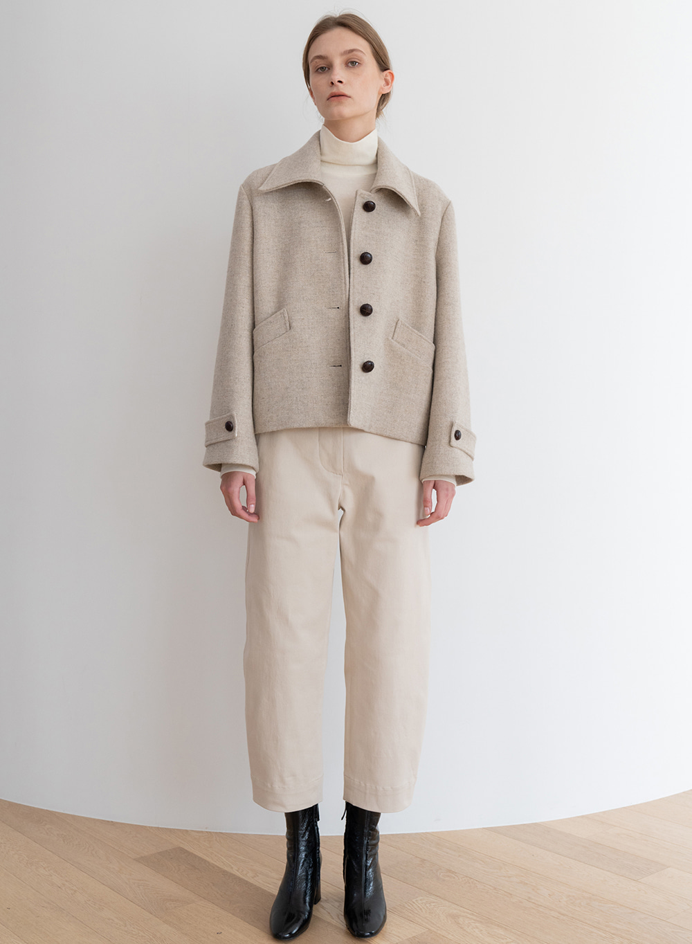 [ESSENTIAL] Twill Cropped Jacket Ivory